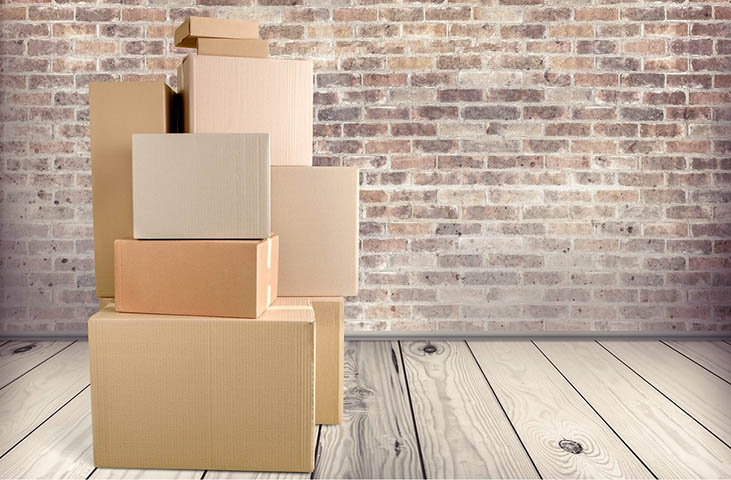cardboard boxes and moving supplies